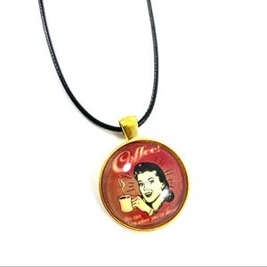 Jewelry - Coffee glass leather cord pendant necklace (w4)